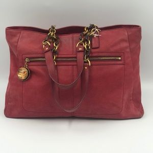 Fendi red suede large tote bag